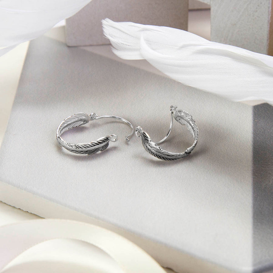 Sterling Silver Angelic Feather Hoop Earrings