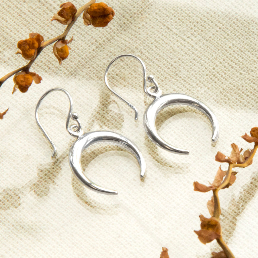 Sterling Silver Contemporary Crescent Drop Earrings
