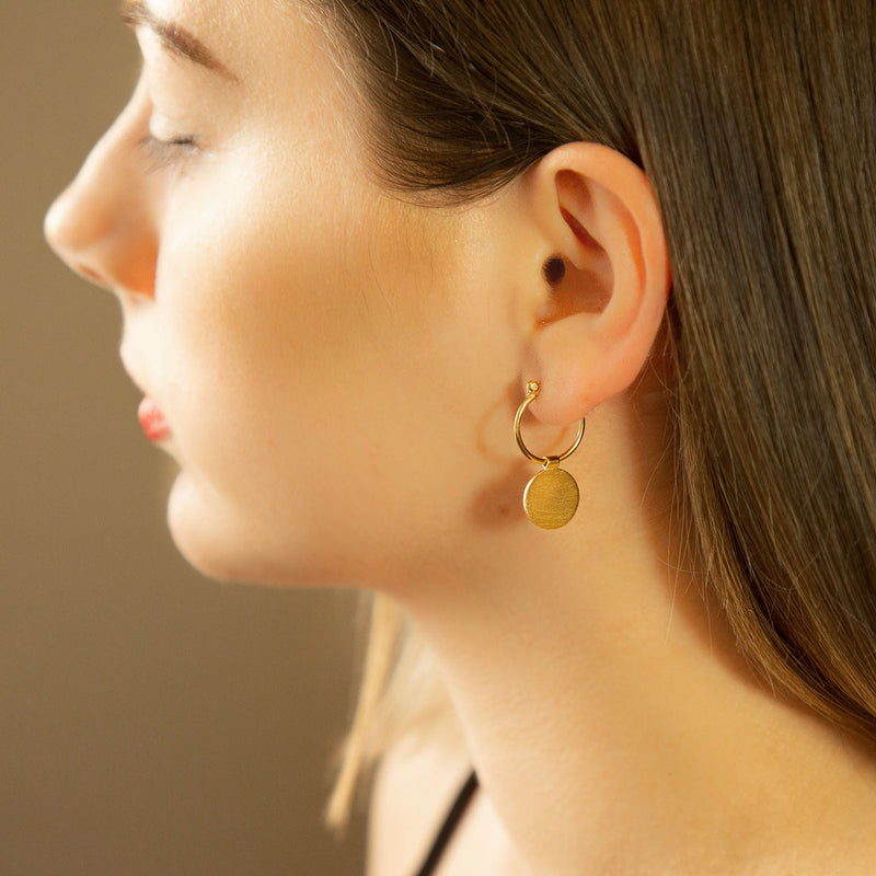 Gold Plated Sterling Silver Omega Drop Earrings