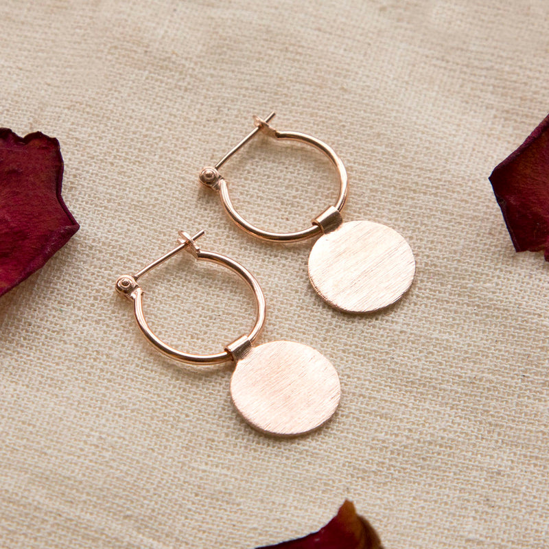 Rose Gold Plated Sterling Silver Omega Drop Earrings