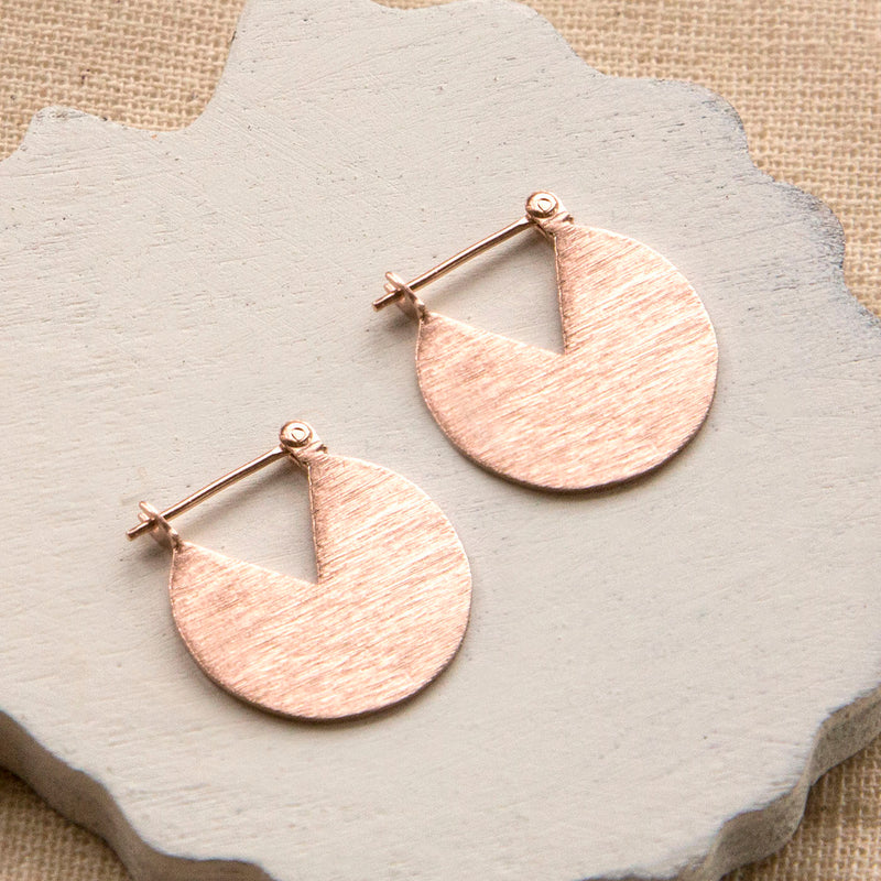 Rose Gold Plated Sterling Silver Stolen Slice Earrings