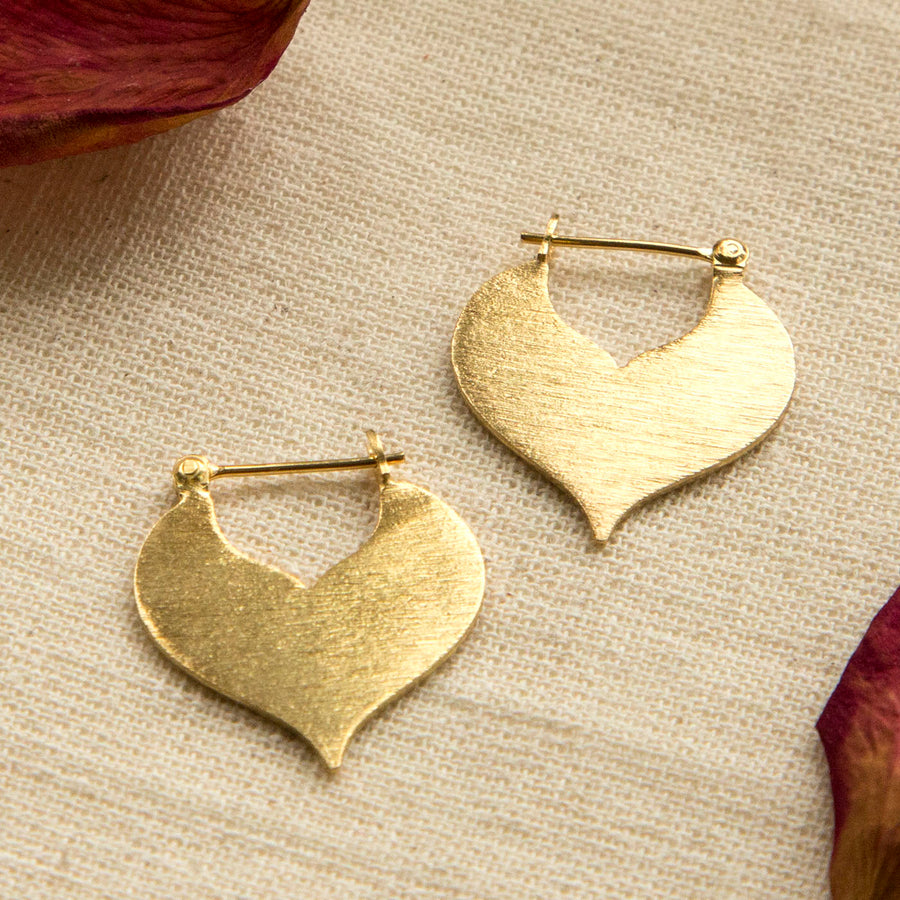 Gold Plated Sterling Silver Love Leaf Drop Earrings