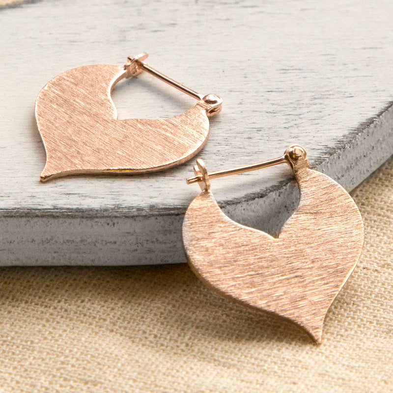 Rose Gold Plated Sterling Silver Love Leaf Earrings