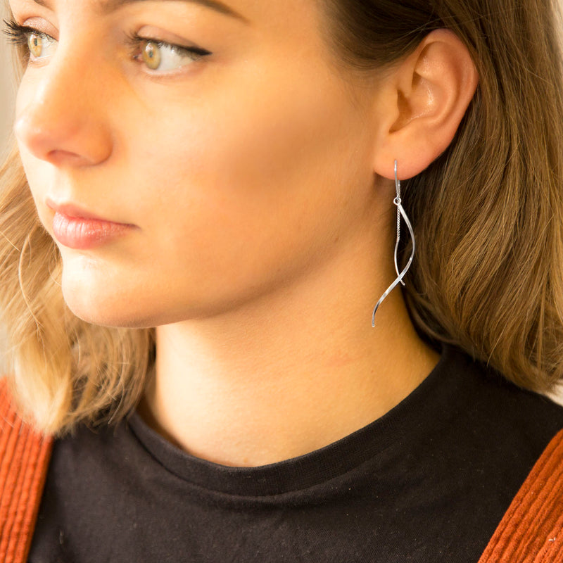Sterling Silver Falling Pull-through Earrings