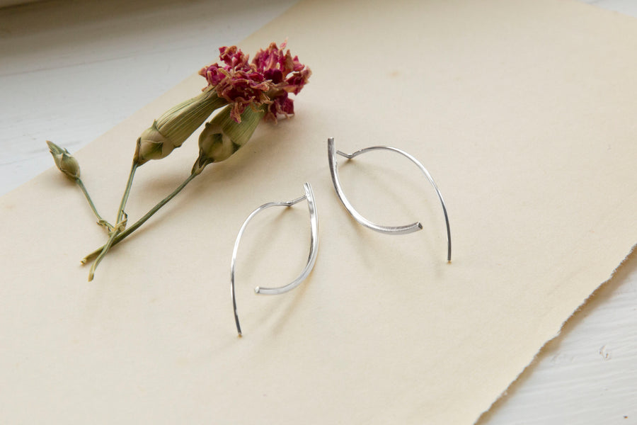 Sterling Silver Fine Bow Earrings