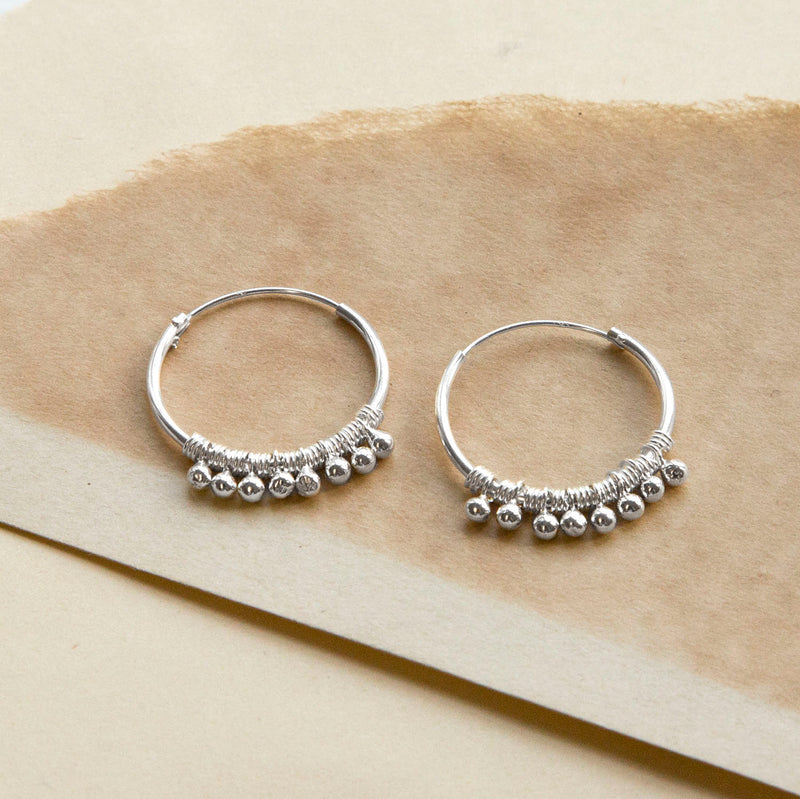 Sterling Silver Ball Detail Hoops