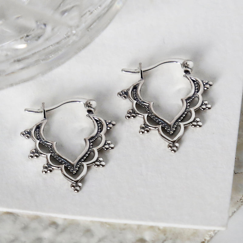 Sterling Silver Arabesque Hoops