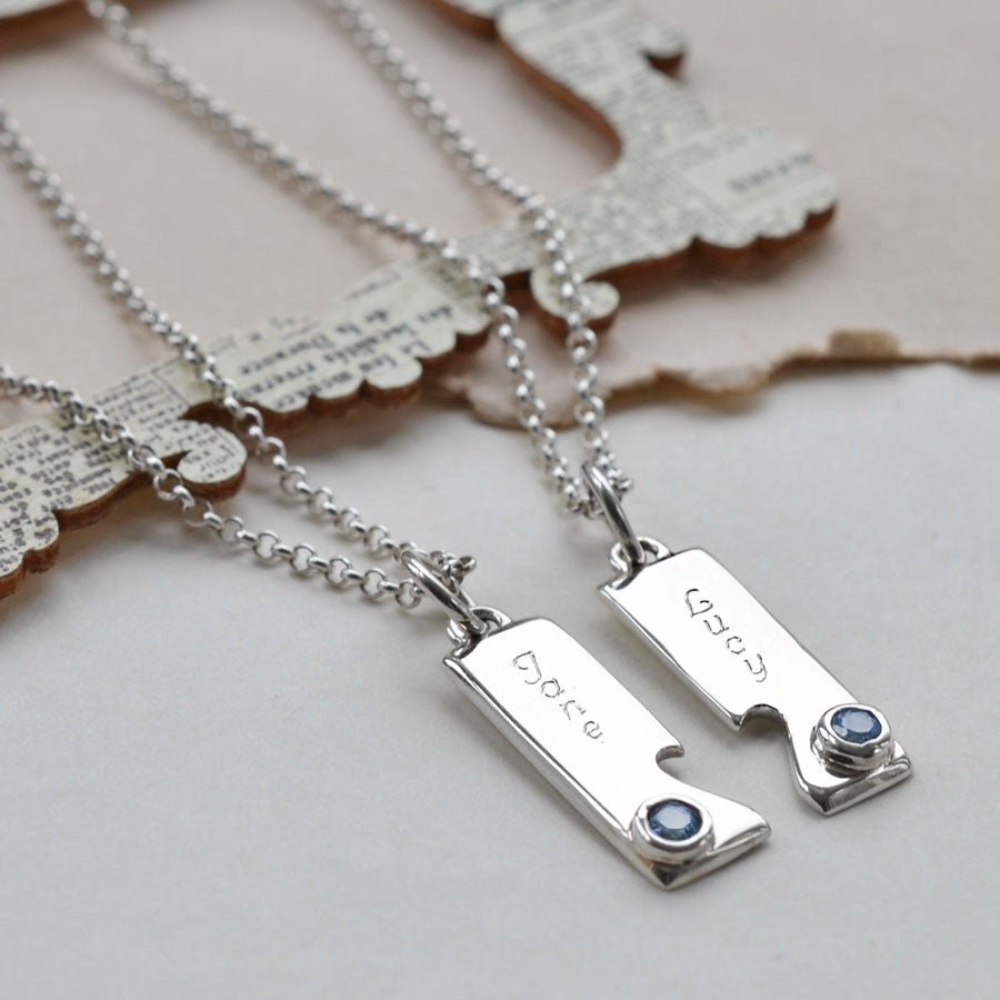 Sterling Silver Engravable Shared Heart Necklace