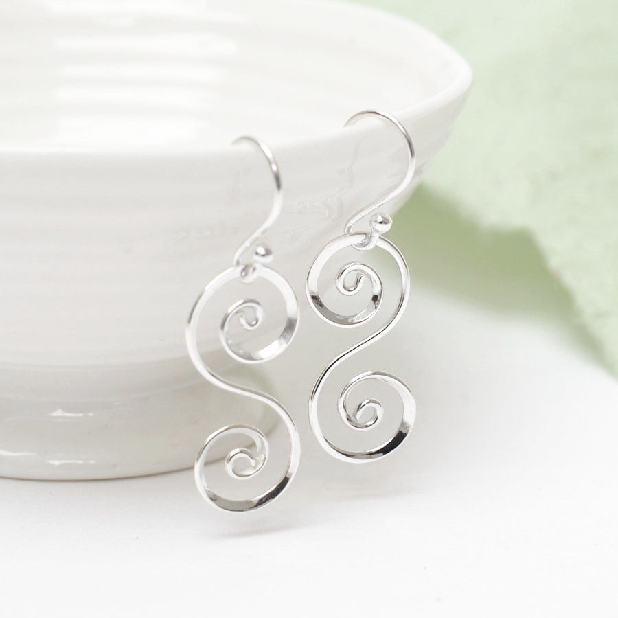 Sterling Silver Spiral S Earrings