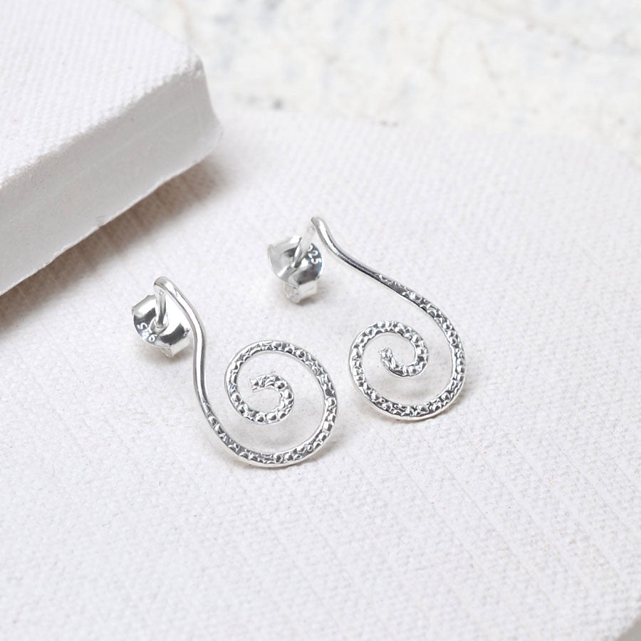 Sterling Silver Spiral Stud Drop Earrings