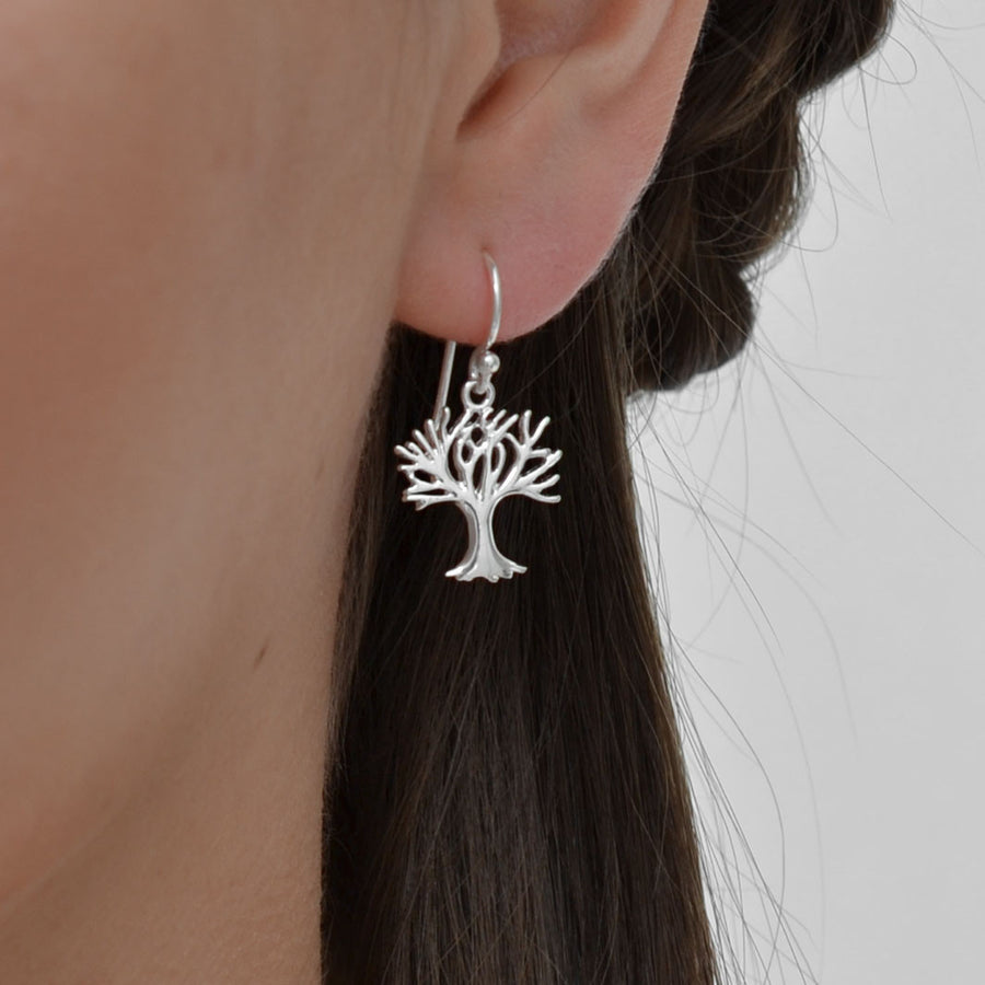 Sterling Silver Tree Drop Earrings