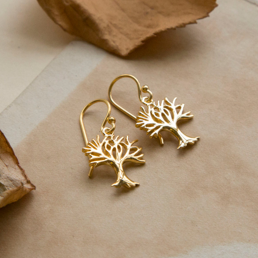 Gold plated Winter Tree Earrings