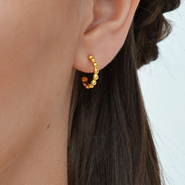 Gold Plated Sterling Silver Baubles Hoop Earrings