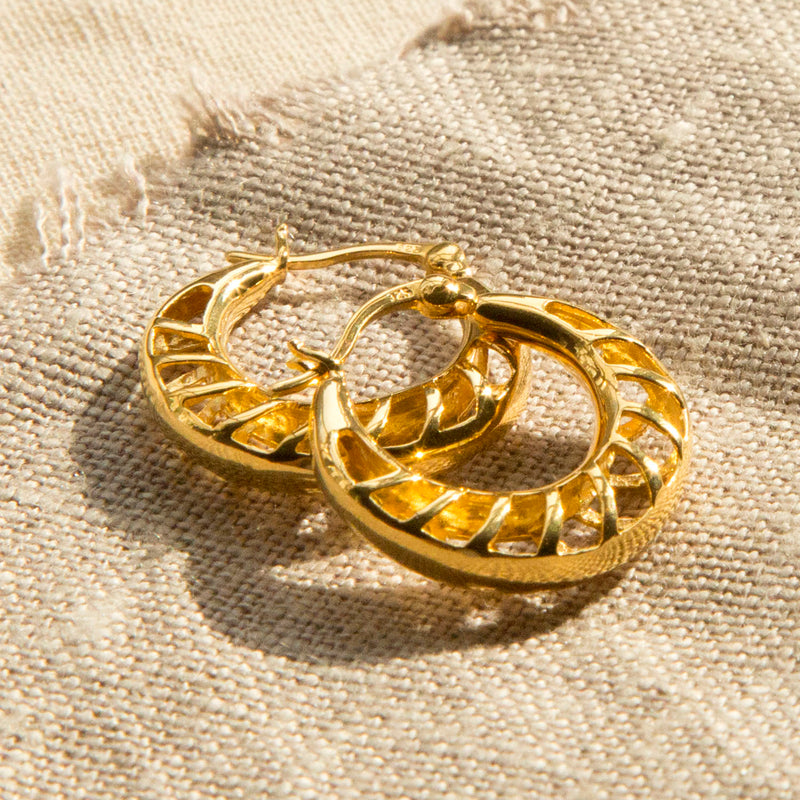 Gold Plated Sterling Silver Lattice Hoop Earrings