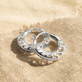 Sterling Silver Lattice Hoop Earrings
