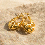 Gold Plated Sterling Silver Abstract Bubble Hoops