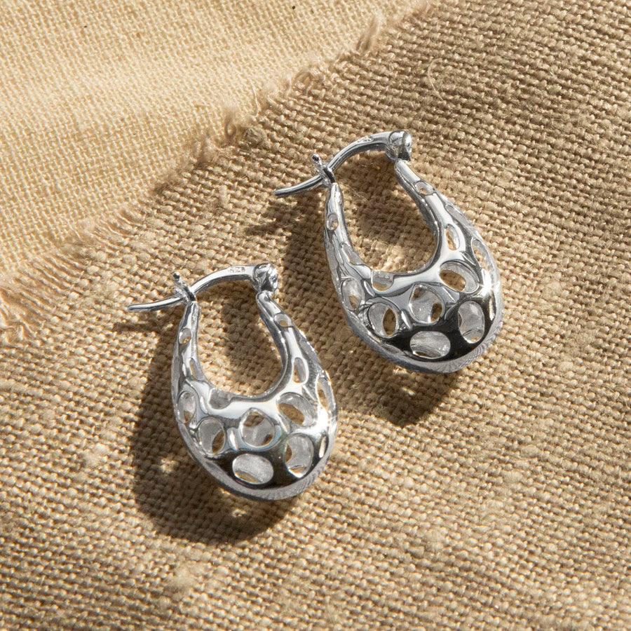Sterling Silver Abstract Bubble Hoops