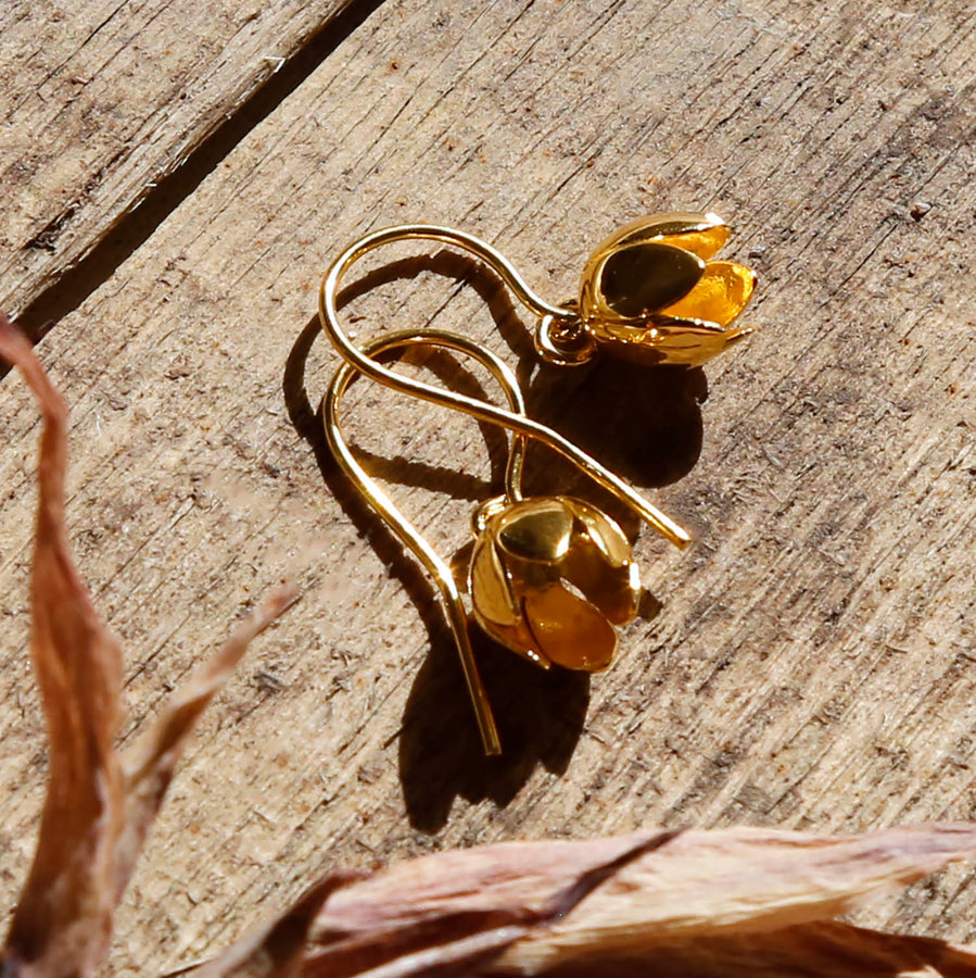 Gold Plated Cherry Bell Flower Earrings