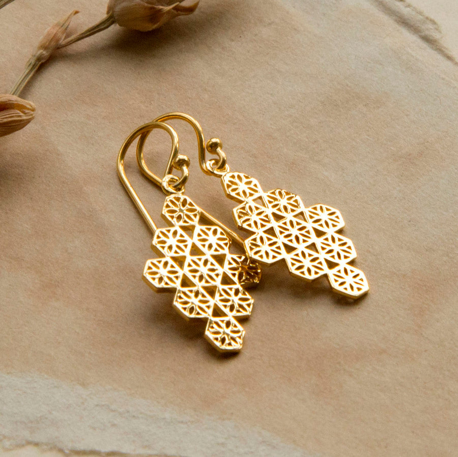Gold Plated Moroccan Tile Earrings