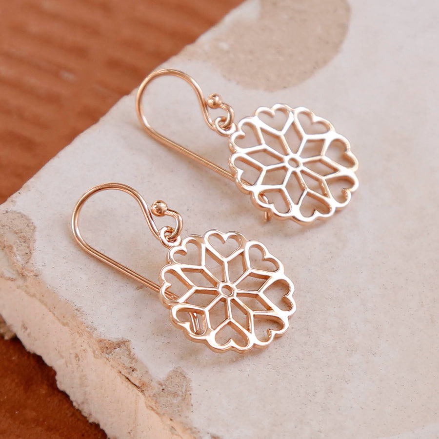 Rose Gold Plated Heart Mandala Earrings