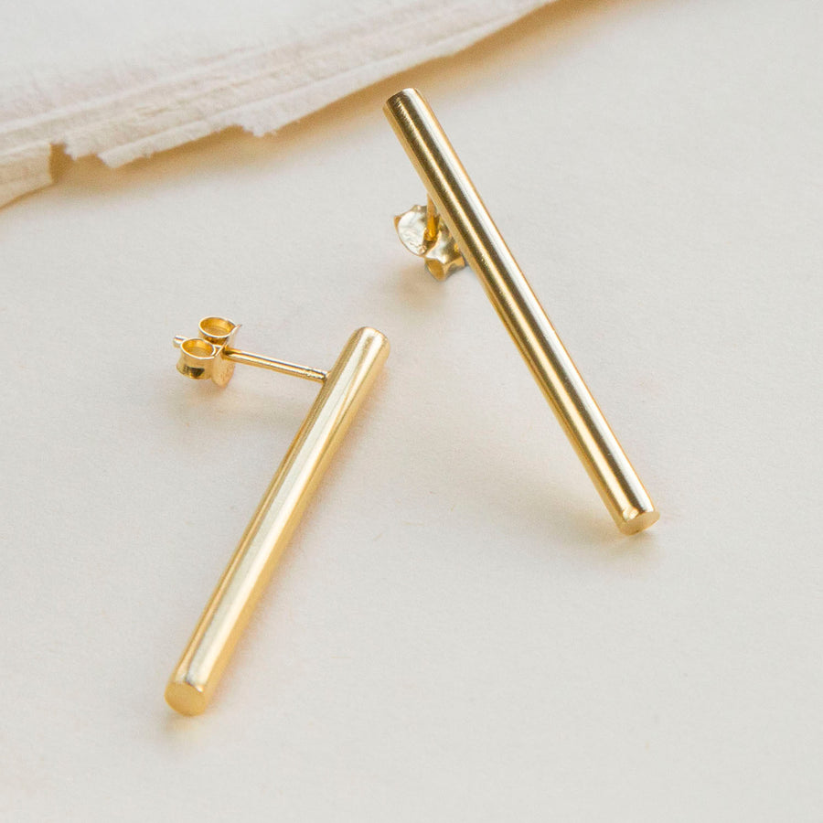 Gold Plated Drop Bar Stud
