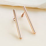 Rose Gold Plated Drop Bar Stud