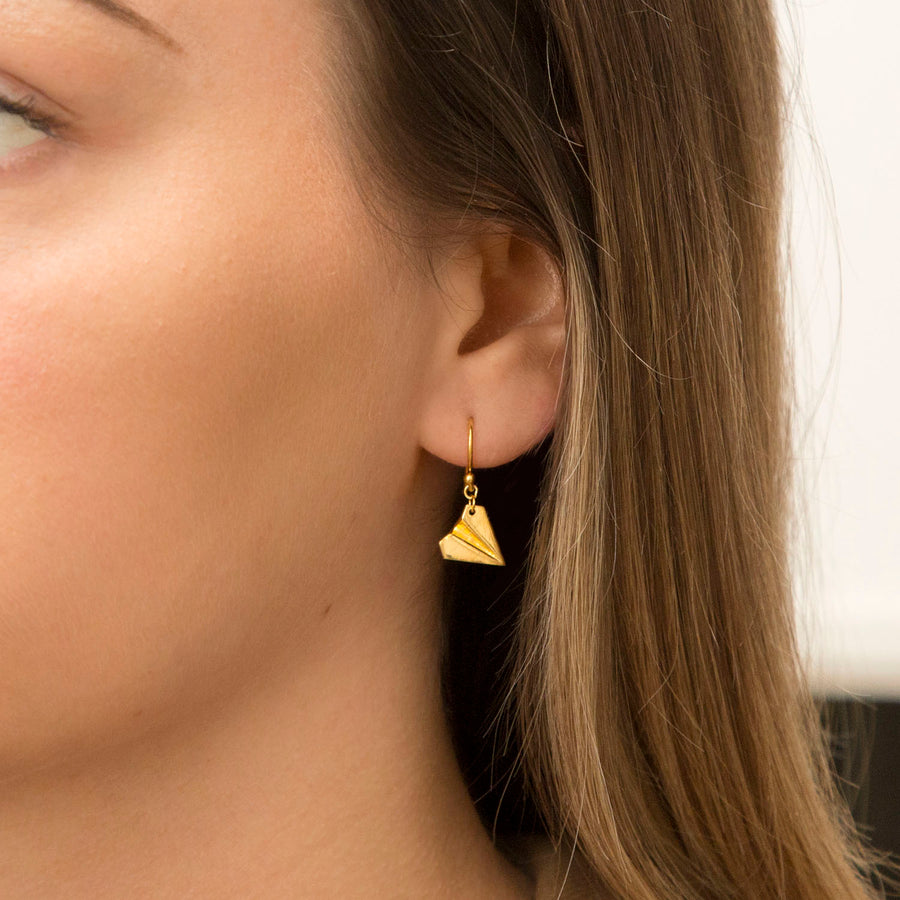 Gold Paper Airplane Earrings