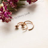 Rose Gold Plated Sterling Silver Six Side Hoop Studs