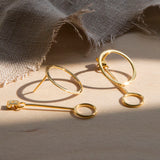 Gold Plated Sterling Silver Two Way Funky Circle Stud Earrings