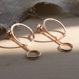 Rose Gold Plated Sterling Silver Two Way Funky Circle Stud Earrings