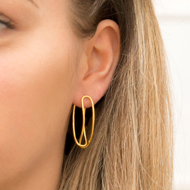Gold Plated Sterling Silver Two Way Curve Stud Earrings