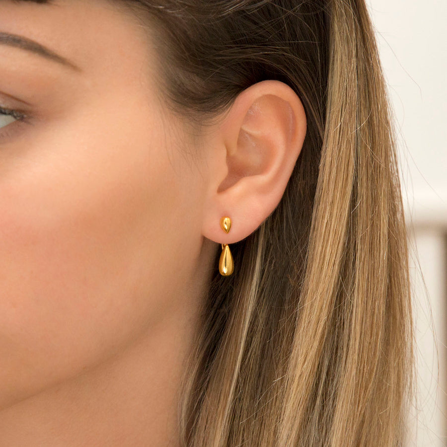 Gold Plated Sterling Silver Two Way Teardrop Stud Earrings