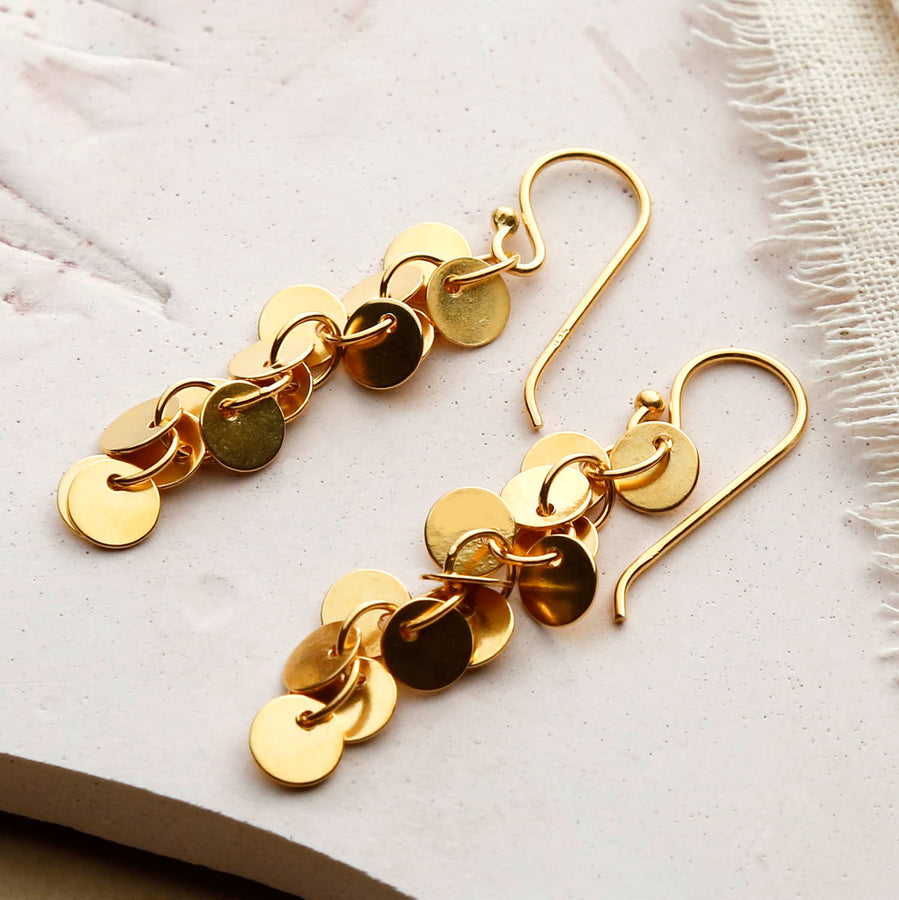 Gold Plated Sequin Earrings