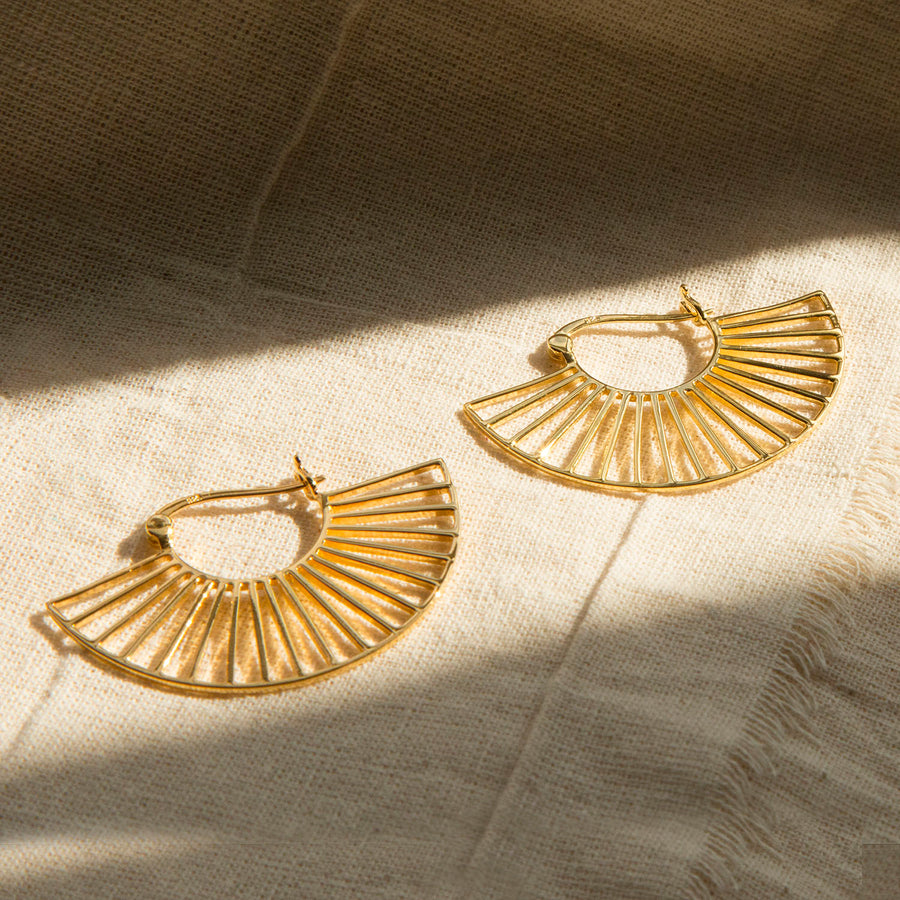 Gold Plated Sterling Silver Art Deco Sunshine Earrings