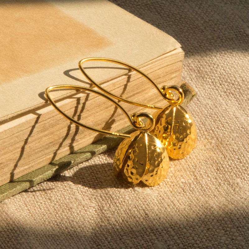 Gold Plated Sterling Silver Bluebell Hook Earrings