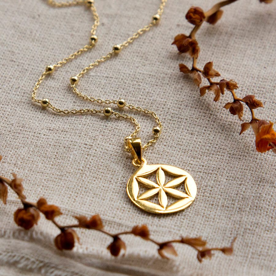Gold Plated Sterling Silver Flower Wheel Necklace