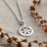 Sterling Silver Flower Wheel Necklace