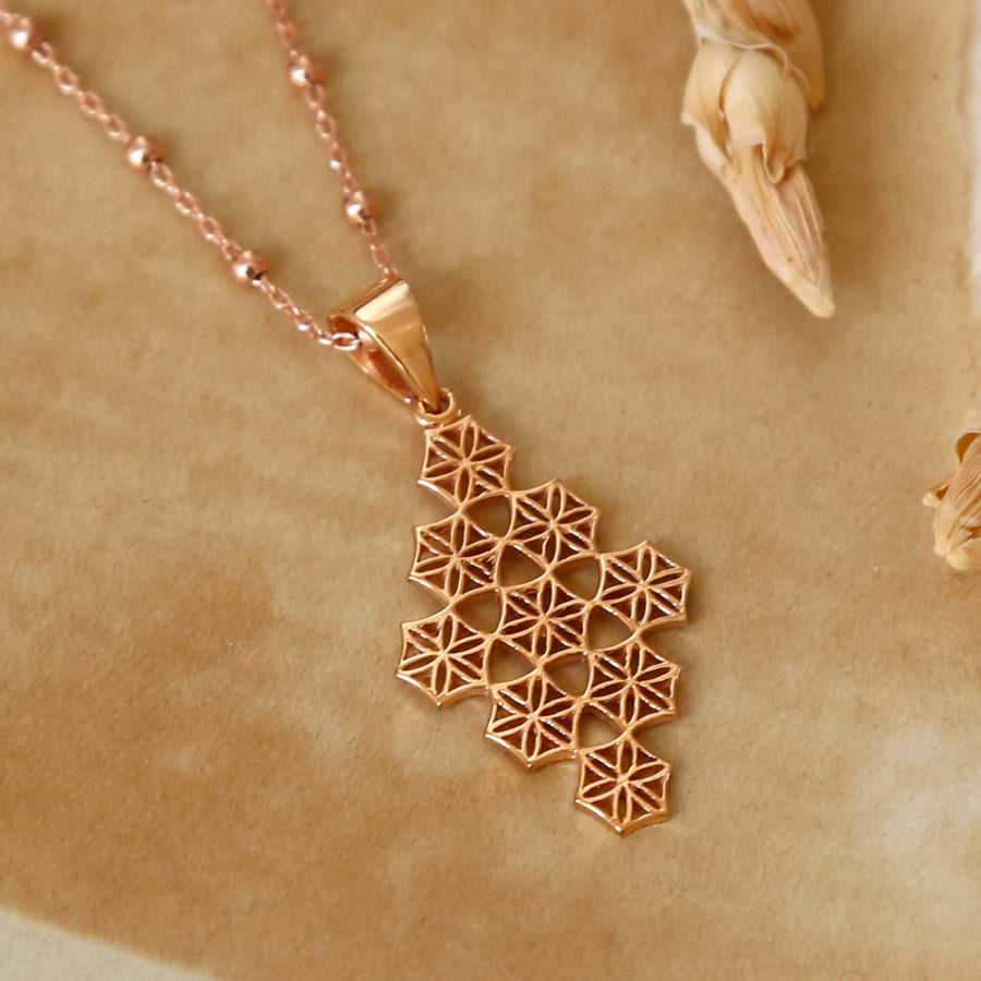 Rose Gold Plated Moroccan Tile Necklace