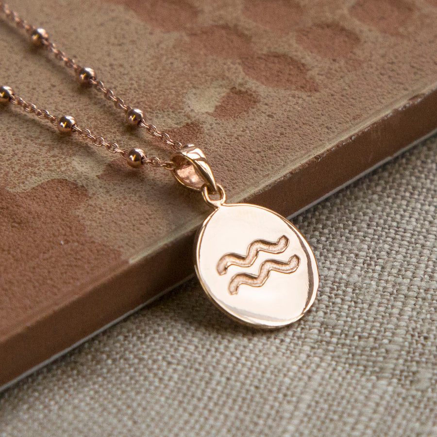 Rose Gold Plated Aquarius Star Sign Necklace