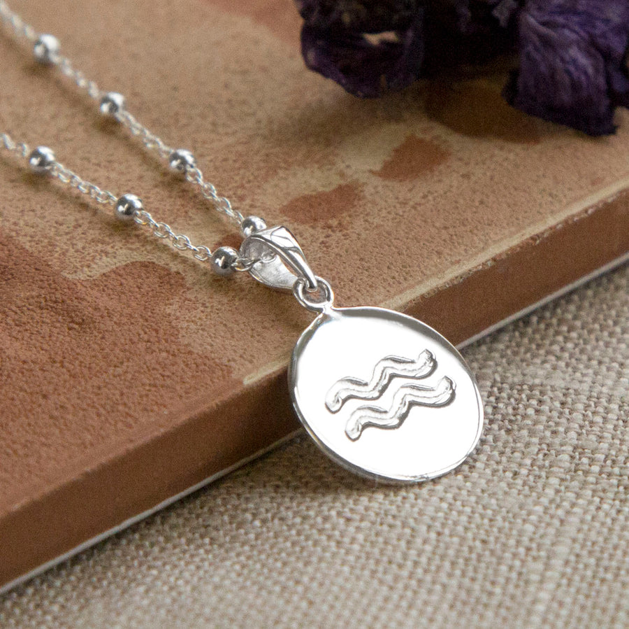 Sterling Silver Aquarius Star Sign Necklace