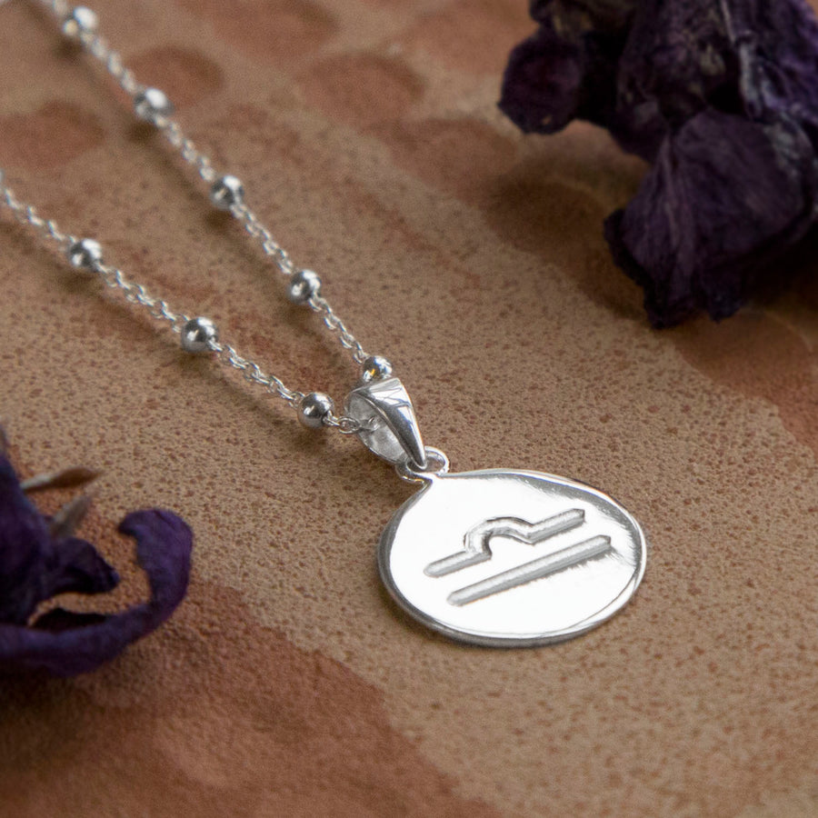 Sterling Silver Libra Star Sign Necklace