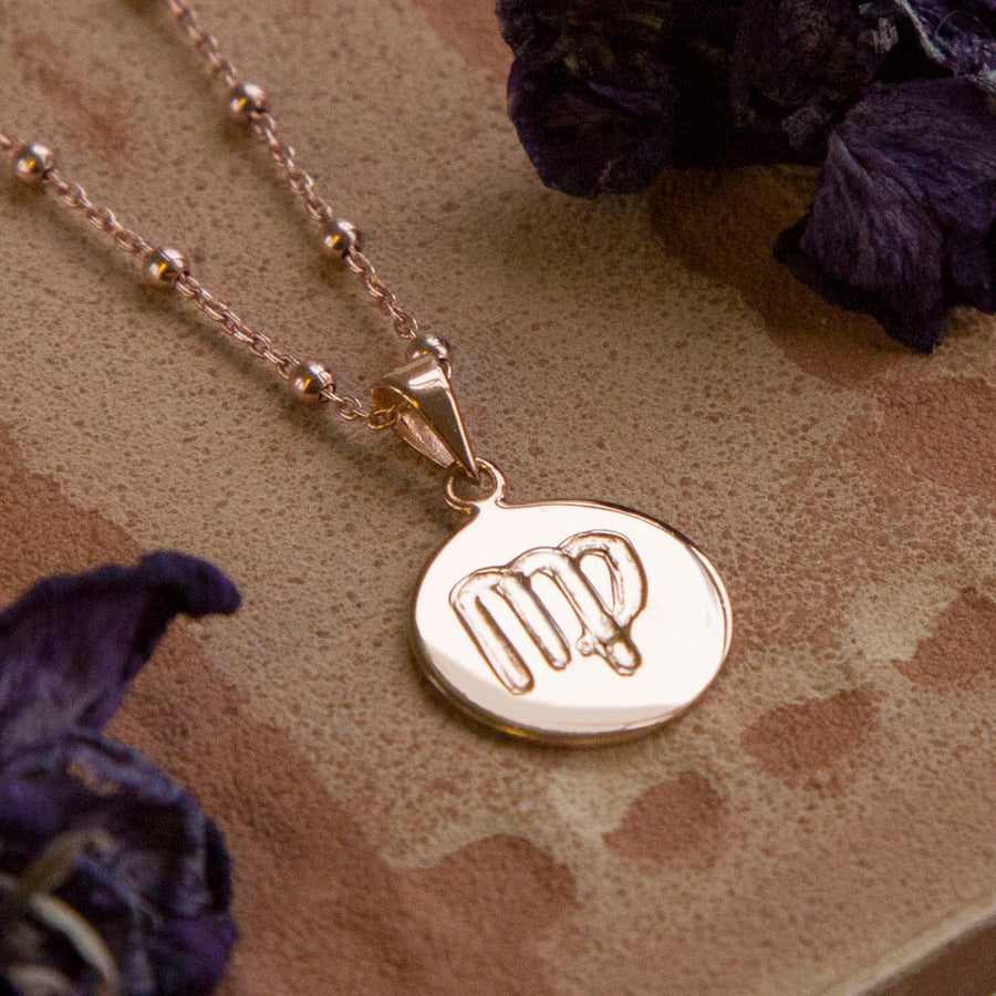 Rose Gold Plated Virgo Star Sign Necklace