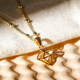 Gold Plated Diamond Graphic Necklace