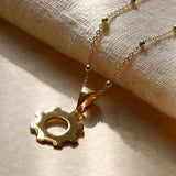 Gold Plated Industrial Cog Necklace