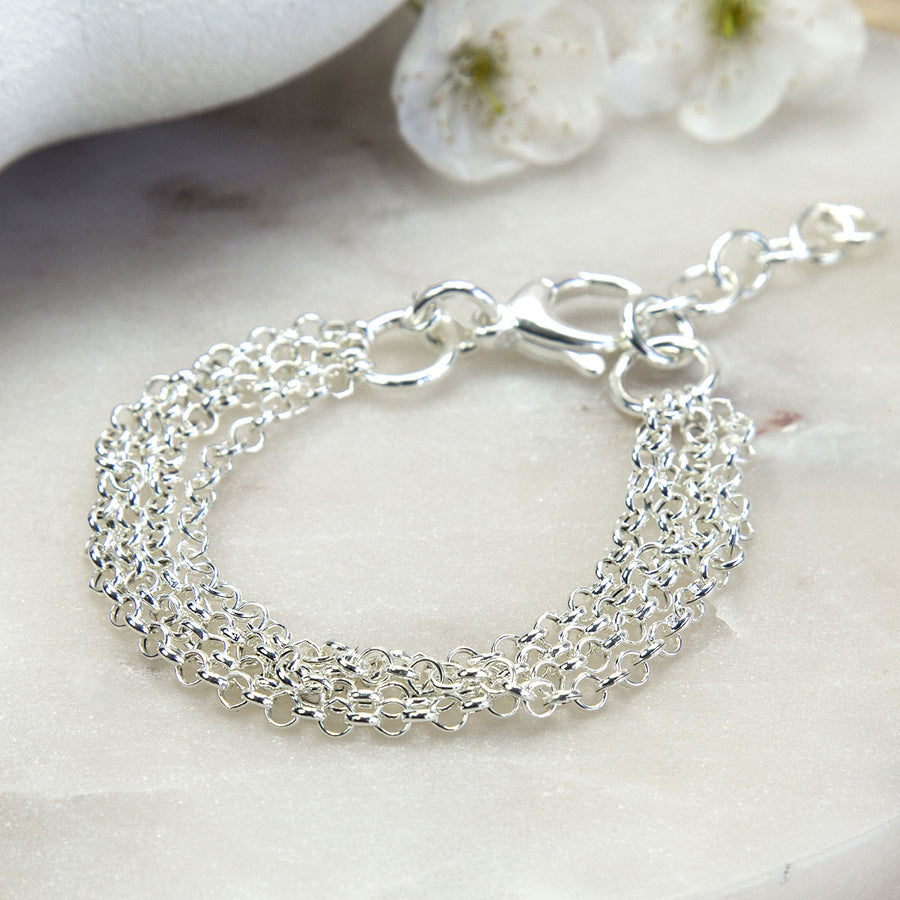 Sterling Silver Four Chain Bracelet