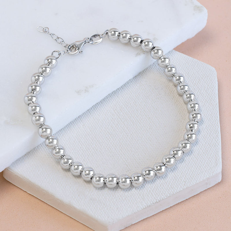 Sterling Silver Round Beads Bracelet