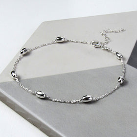 Sterling Silver Dew Drop Anklet