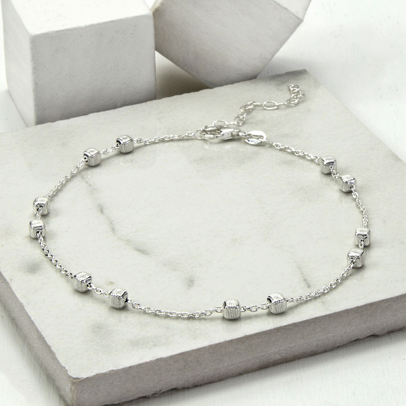 Sterling Silver Delicate Boxes Anklet