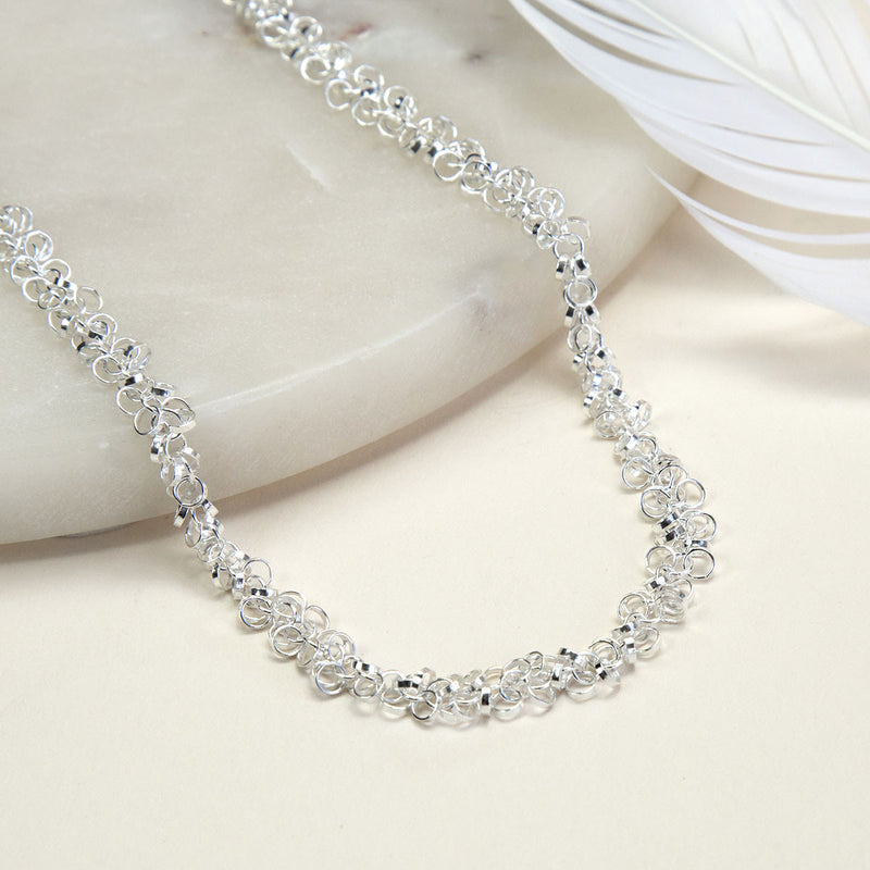 Sterling Silver Velvet Circles Necklace