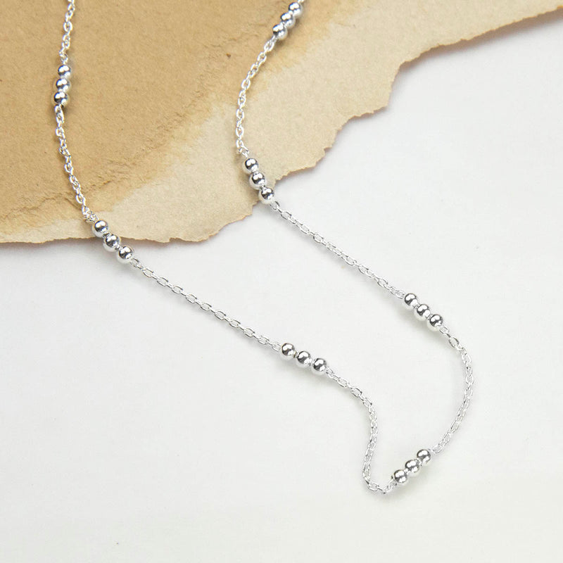 Sterling Silver Triple Ball Necklace